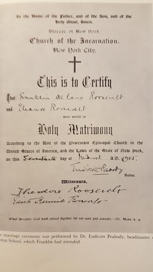 The incumbent President and First Lady, Theodore and Edith Roosevelt signed the marriage certificate of future President and First Lady, Franklin and Eleanor Roosevelt. (FDRL)