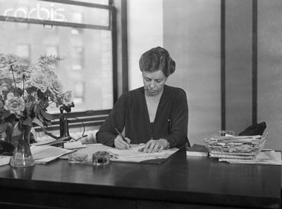 Eleanor Roosevelt working at her desk in the late 1920s. (International News Photo)