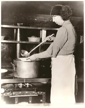 The First Lady of New York ladles out soup during one of her visits to a social welfare institution, feeding those hit hard by the 1929 Wall Street crash. (FDRL)