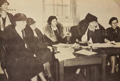 Eleanor Roosevelt during a meeting of the National Democratic Party's Women's Division the year her husband was nominated for president. (Wide World)