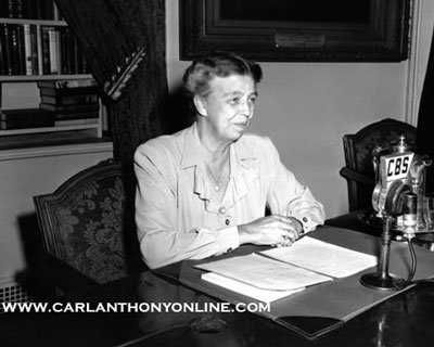 Eleanor Roosevelt speaking on the radio from the White House broadcast room. (carlanthonyonline.com)