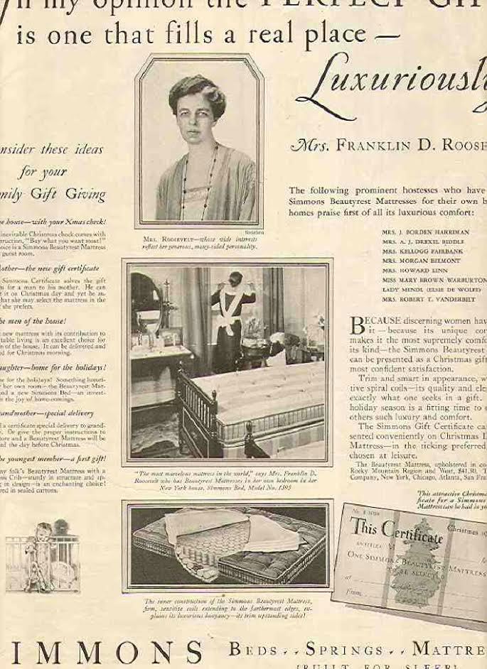 A magazine advertisement for Simmons mattress, one of the First Lady's radio sponsors, using her name and face to sell its products. (pinteret)