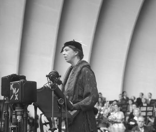 Eleanor Roosevelt addressing a large crowd at the Hollywood Bowl. (UCLA)