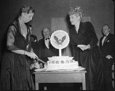 Actress Lucille Ball with Eleanor Roosevelt at an annual March of Dimes gathering. (pinterest)