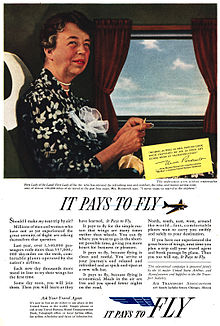 The airline industry advertisement Eleanor Roosevelt appeared in as a paid endorsement. (ebay)