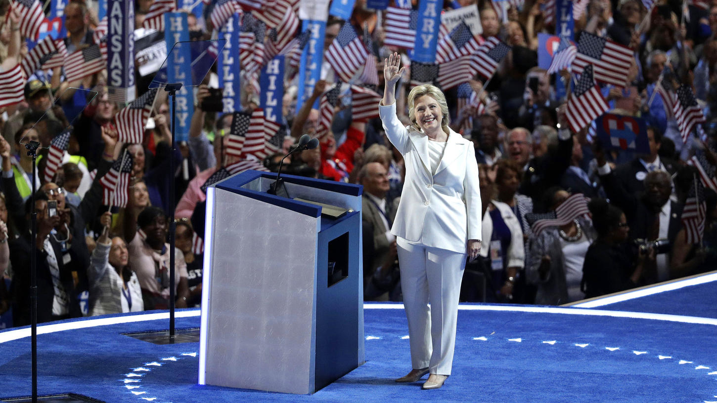 Hillary Clinton making her acceptance speech at the 2016 Democratic National Convention. (Los Angeles Times)