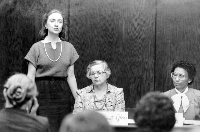 Hillary Clinton in her role as chair of the Arkansas Educational Standards Committee.  (encyclopediaofarkansas.net)