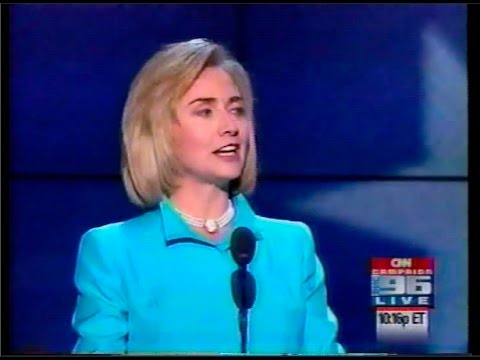 Hillary Clinton addressing the 1996 National Democratic Convention, the first incumbent Democratic First Lady to do so since Eleanor Roosevelt in 1940. (Youtube.com)