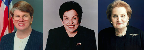 Hillary Clinton worked closely on a number of issues with Cabinet members Donna Shalala, Janet Reno and Madeline Albright. (Wikipedia)