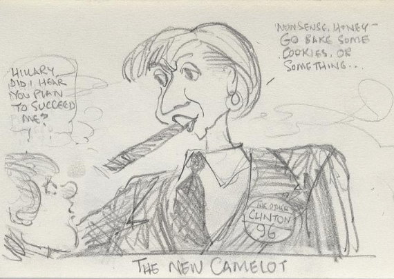 A cartoon drawing satirizing Hillary Clinton's overt political role as First Lady, suggesting that the second Clinton term would have her serving as President. (National Portrait Gallery)