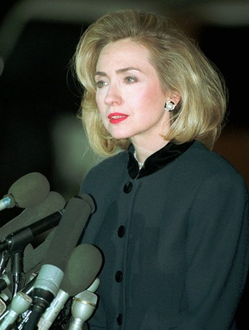 Hillary Clinton answers media questions following her 1996 grand jury testimony. (Getty)