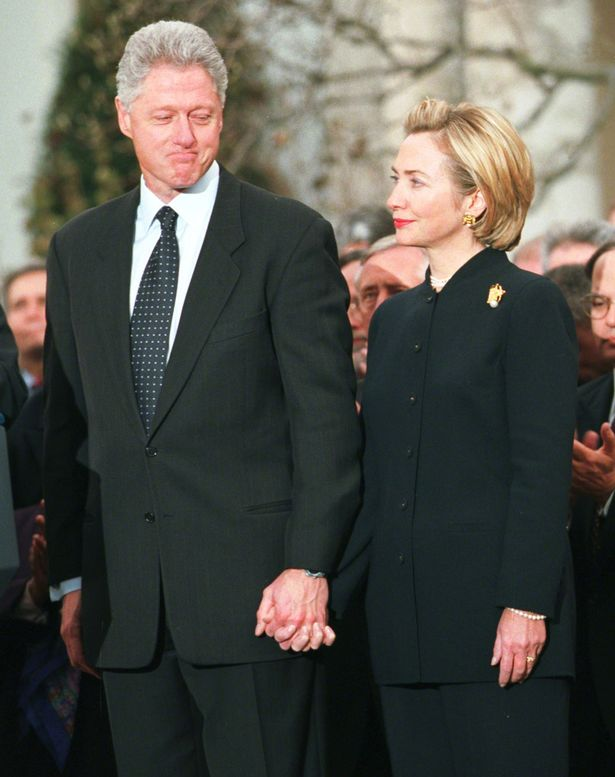 Hillary Clinton defended the President during a December 1998 White House South Lawn appearance, viewing his impeachment trial as being politically inspired. (Newsweek)