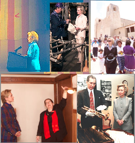 Among the historic sites and items Hillary Clinton's council helped save were (clockwise) the original Star Spangled Banner flag, an Iroquois Nation longhouse and native American Indian crafts, the San Esteban del Rey and Acoma Pueblo, Frank Lloyd Wright's home and Louis Armstrong's trumpet. (WJCPL)