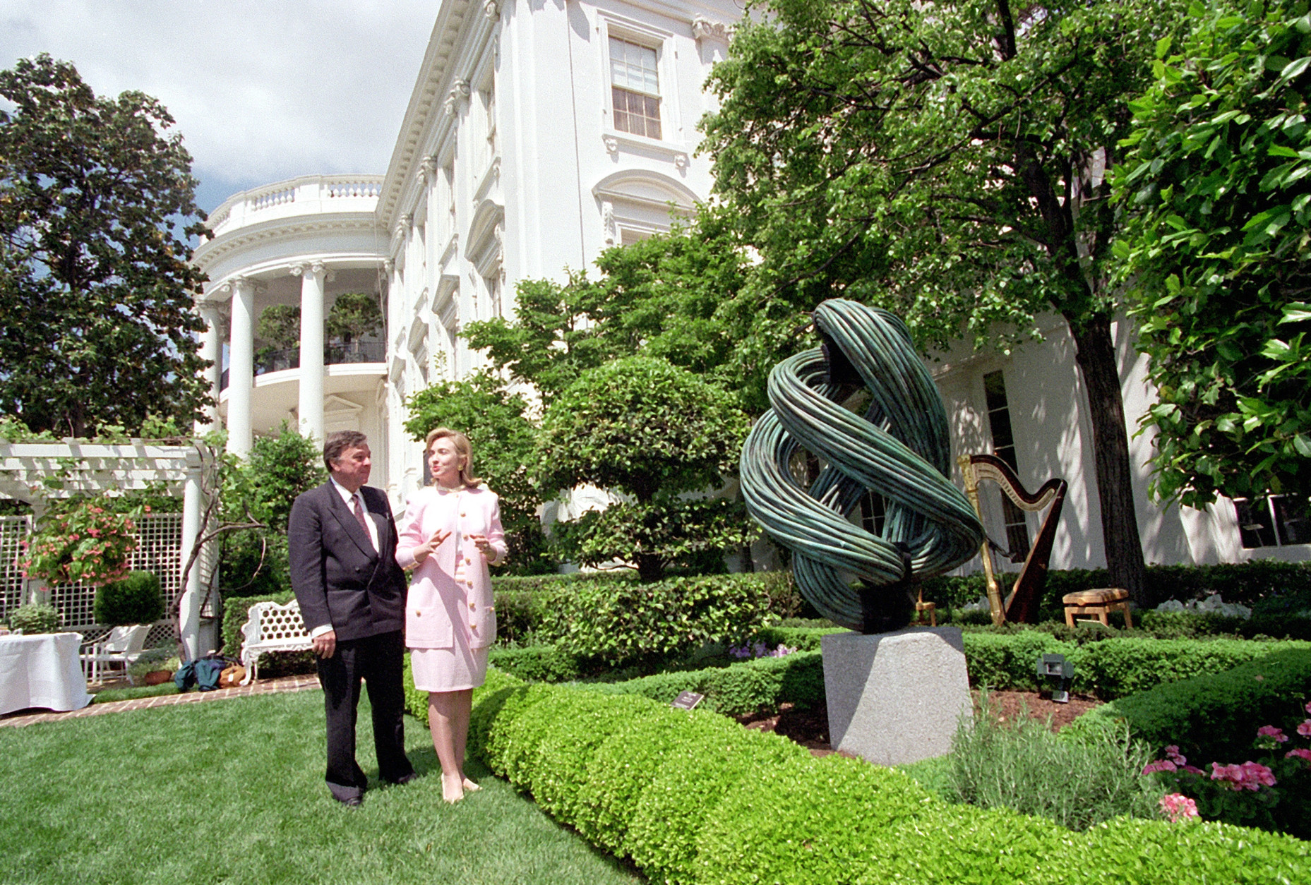 Hillary Clinton in the White House Sculpture Garden she created. (WTOP)