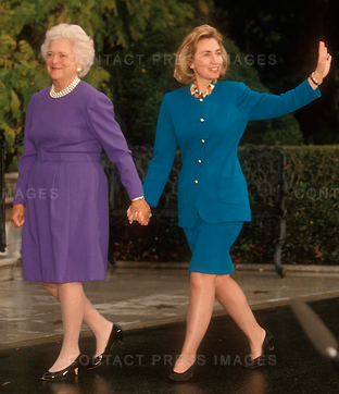 Barbara Bush welcomes Hillary Clinton to the White House for a private tour, following the election defeat of the former's husband by the latter's husband. (Getty)