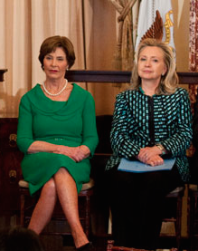 Hillary Clinton and Laura Bush at a 2012 Georgetown University ceremony where both were given awards for their leadership on the issue of equality for Afghani women. (Georgetown University)