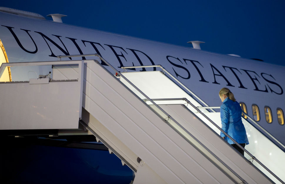 Hillary Clinton departing for another part of the world; she proved to be the nation's most widely-travelled Secretary of State. (foreignpolicy.com)