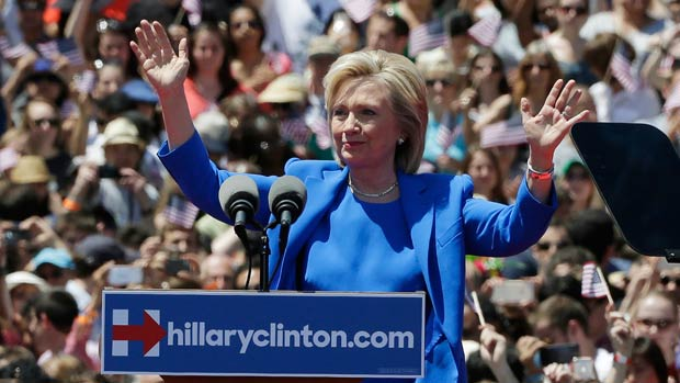 Hillary Clinton at the launch of her 2016 campaign on Governor's Island, New York in June of 2015. (Getty)